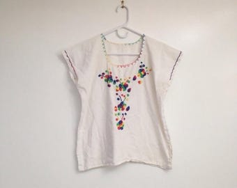 SALE Vintage Soft Woven Cotton Rainbow Floral Embroidered Boxy Blouse