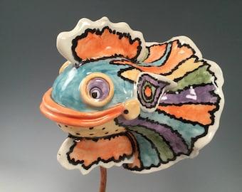Fish sculpture/fish statue/fish/fish decor/unique pottery/sea shell art/sea shells/whimsical pottery/beach decor/beach sculpture