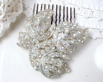 Art Deco/Art Nouveau Bridal Hair Comb, 1920s 1930s Leaf Dress Clip Comb, Vintage Pave Rhinestone Silver Head Piece, Rustic Woodland Wedding