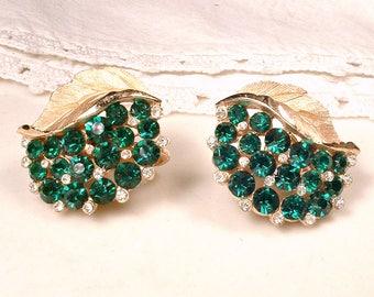 Vintage TRIFARI Emerald Rhinestone Brushed Gold Earrings, Leaf Dark Green Bridal Earrings OR Hair Pins. Clip On/Back Statement Designer