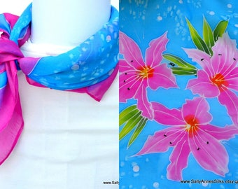Silk Bandana, Hand painted bandana, 22 x 22 inches, Free Shipping, Made in Australia, Ready to Ship, Gift for her, SallyAnnesSilks  BS6