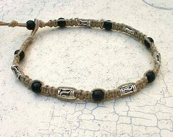 Surfer Thick Hemp Necklace With Pewter and Wood Beads Choker
