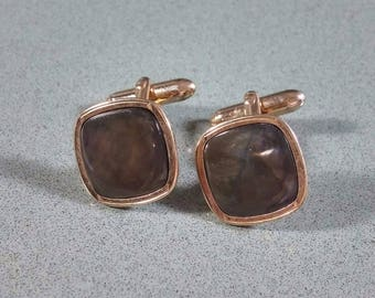Vintage Swank Cufflinks Abalone Seashell Inlaid into Gold tone Metal Rounded Square Shape Nice Looking Pair of Cufflinks