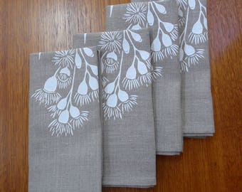 Linen Napkins Screen Printed Linen Napkins Hand Printed Linen Napkins White&Natural Australian Eucalypt (set of 4)