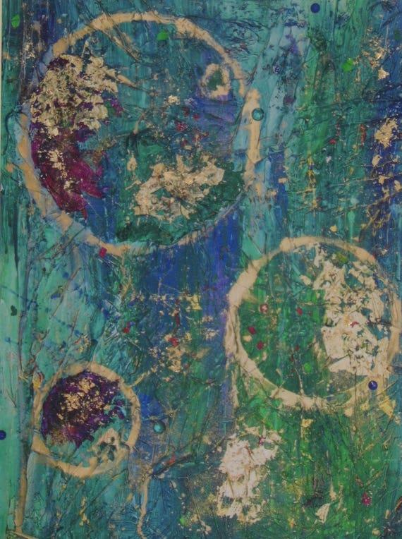 Green & Gold Abstract Print