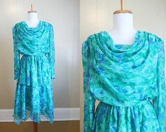 Chiffon Dress Watercolor Floral Vintage Drape Neck Blue Green 80s Small