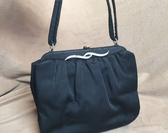 Black Purse, Black Satin Handbag, Vintage 60's Black Handbag, Evening Bag, Small Mini Bag, Vegan Friendly Fabric Purse, Made in USA