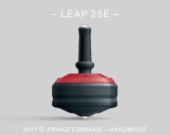 LEAP 25E Red-on-Black Spin Top with rubber grip, dual ceramic tip, two-part body, and accent holes (3)