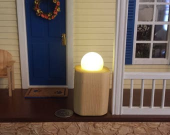 1 12 Dollhouse Miniature Battery Operated Frosted Globe Garden Light Contemporary Floor Lamp Wood Base