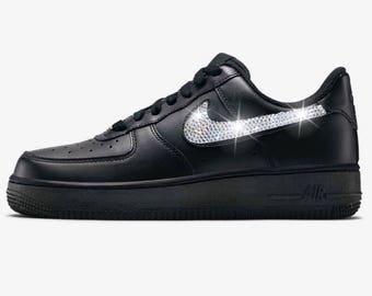 Bling Nike Air Force 1 '07 with Swarovski Crystals * Black *  Bedazzled w/100% Authentic Swarovski Crystal Rhinestones