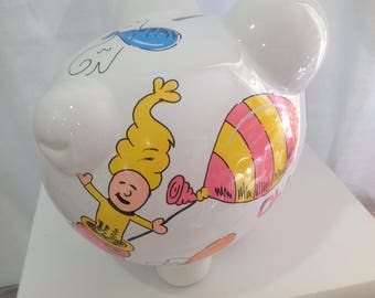 Personalized Large Piggy Bank Dr. Seuss Oh! The Places You'll Go!-Newborns,Girls,Ring Bearer, Flower Girl,Christening,Baby Shower