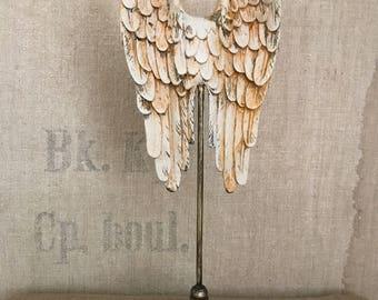 Angel wings,cherub wings with rose,angel wings,wings,feathered wings,jewelry finding wings,cupid wings,bird wings,angel wings on stand