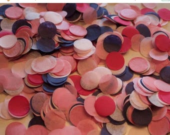 "ON SALE Navy and Pink Tissue Confetti 3/4"" Circles"