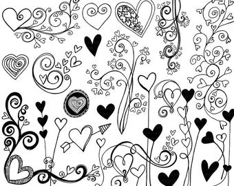 Heart Clip Art Doodles, Printable Wedding ClipArt, Black & White Digital Stamps, Love Flourishes, Valentine Heart Art Download