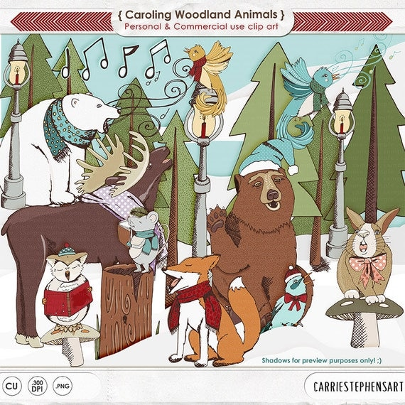 Christmas ClipArt, Carolling Woodland Animal Clip Art ...