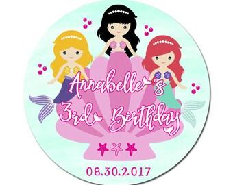 Custom Mermaid Friends Girl Birthday Labels  Round Glossy Designer Stickers