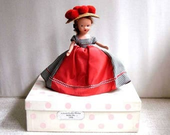 Nancy Ann Storybook Doll, Bisque Doll With Box, Auburn Hair, Red Pom Poms Straw Hat, A Sweet October Maiden Rather Shy #196, Vintage 1940s