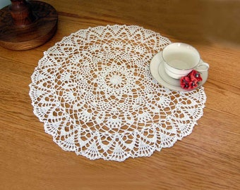 Large White Crochet Lace Doily, Elegant Table Centerpiece , 18 Inch Doily, Intricate Design, Wedding Gift, Mothers Day, New Home Decor