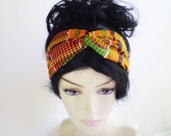 Orange Kente Turban Headband, Kente Twist Headband, African Kente Headband, African Turban Headband, African Twist Headband