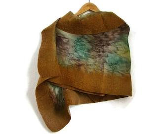 felted silk shawl, mustard brown green