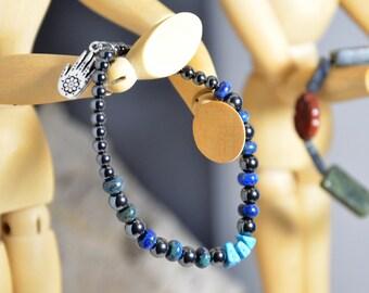 Hamsa Charm Healing Stretch Bracelet, Hematite, Chrysocolla, Turquoise, Prayer Women Men Unisex Om Bliss