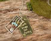 Bird Blue With Brave Wings Charm Necklace