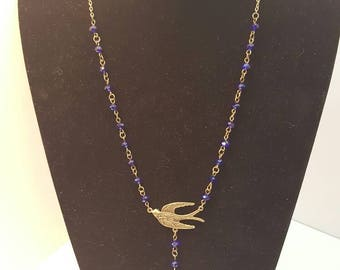 Beautiful Blue Crystal Antique Bronze  Swallow Necklace