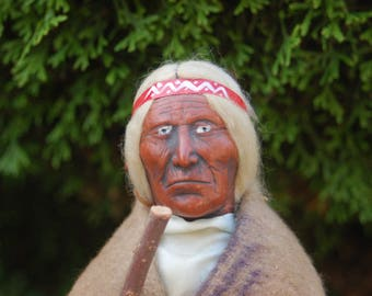 "Antique Native American 11"" Skookum / Bully Good Elder Doll w/ Heavy Care Worn Face, Painted Wool Felted Moccasins, Trade Blanket & staff."