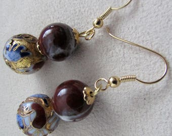 Jasper and cloisonne beads earrings