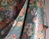 Vintage Fabric Floral Blue Chintz, Cotton Fabric /French Home Decor, Curtains, Cushions, Furnishings Textile / Sold by meter