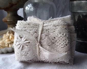 Vintage Lace Trims, Antique Laces, White Cotton /4pc Bobbin Bedfordshire Tape Laces Vintage Wedding, Dolls & Bears, Furnishings
