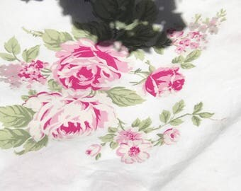 Vintage cotton panel Carol Little Home Collection pink rose pattern faded in middle section