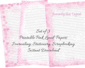 Pink Printable Lined Journal Pages, Printable Stationery, Lined Paper, Set of 3, Instant Digital Download, Letter size, 8.5 x 11 inch JPG