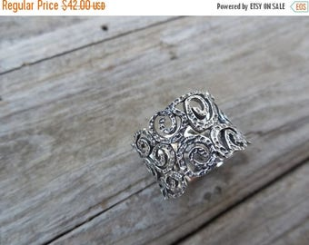 ON SALE Wide band in sterling silver