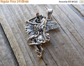 ON SALE Fairy pendant handmade in sterling silver
