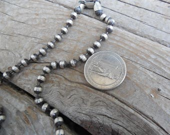 """ON SALE Bead necklace...5mm beads and 22"""" long in sterling silver 925, antiqued and a hand done satin finish"""