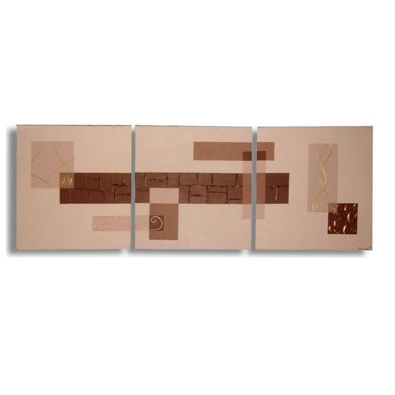 Tableau Triptyque Marron Beige Or Art Moderne Salon