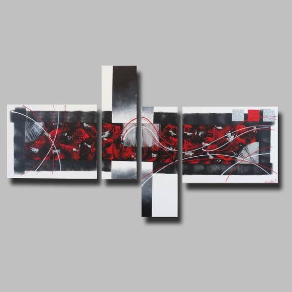 Tableau toile blanc rouge gris noir art contemporain moderne - Tableau rouge noir gris moderne ...