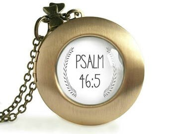 Psalm 46:5 Bible Verse Locket Necklace Womens Inspirational Quote Pendant Christian Scripture Jewelry She Shall Not Be Moved