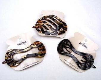 3 vintage hair barrette Karina faux tortoiseshell celluloid hair accessory hair clip hair slide hair ornament (ABG)