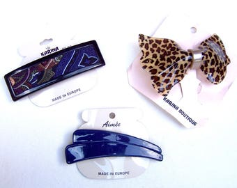 3 vintage Karina big and bold hair barrette celluloid hair accessory hair clip hair slide hair ornament (ADE)