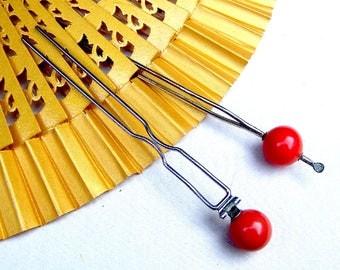 Two vintage Japanese Kanzashi ball top hair pins Geisha hair pick hair fork hair accessory hair ornament (AAF)