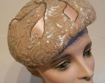 Clearance 60% Off Sparkling Pink Follies - Early 1950s Evelyn Varon Pale Pink Satin & Sequin Beret Hat
