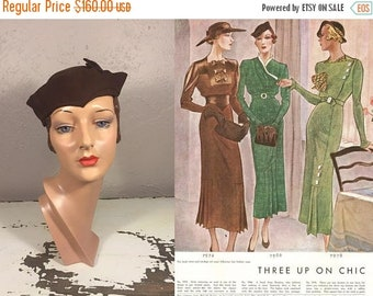 Anniversary Sale 35% Off Off In the Distance She Stares - Vintage 1930s Espresso Brown Wool Felt Slouch Calot Hat