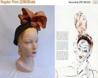 Anniversary Sale 35% Off Reaching New Heights - Vintage 1940s New Look Brown Felt Caplet w/Large Copper Rayon Ruffle Bows