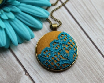 Colorful Yellow And Turquoise Necklace, Boho Lace Jewelry, Large Mustard, Blue Pendant, Geometric