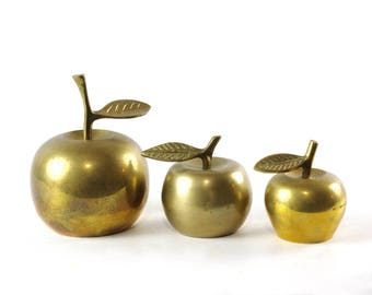 Vintage Brass Apple Figurines, Brass Home Decor, Brass Bells