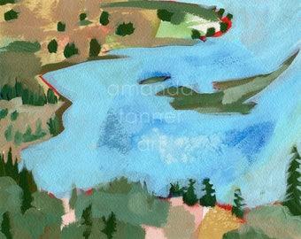 Original Abstract Painting Landscape Oregon Acrylic Painting Original Watercolor Painting 8x10 wall art