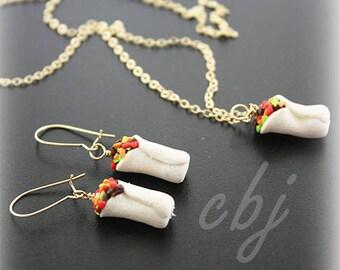 Burrito Necklace, Burrito Earrings, Burrito Charm, Burrito Necklace Gold Filled, Polymer Clay Burrito, Burrito Jewelry SET