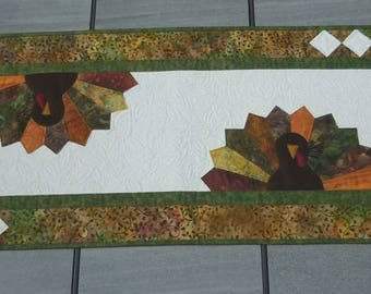 Quilted Table Runner, Green, Gold, Brown, Handmade Table Topper, Table Decor, Kitchen Decor